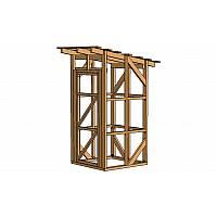 Каркас сарая малого размера. Может использоваться как для хранения небольшого количества садового инвентаря и инструментов, так и для построения небольших садовых конструкций, таких как туалет, душ, раздевалка.