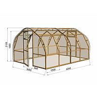Уникальная разработка - деревянная теплица арочного типа, позволяющая класть поликарбонат целым куском 6 метров, без резки.<br /><br /> Аналог металлических теплиц с дугами, но более крепкая конструкция, гармонично вписывающаяся и не нарушающая загородный ландшафт.