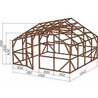 Каркас деревянный для теплицы, курятника и прочих строений на участке.<br/> Преимущества:<br/> - оптимальный размер ширина 4,0 м., высота 2,65 м., длина 4,04 м.<br/> - транспортировка комплекта каркаса с помощью легкового автомобиля<br/> - позволяет использовать различный укрывной материал<br/> (поликарбонат, пленку, стекло).