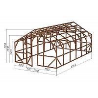 """Каркас деревянный для теплицы, курятника и прочих строений на участке.<br/> Преимущества:<br/> - оптимальный размер ширина 3,5 м., высота 2,5 м., длина 6,04 м.<br/> - конструкция """"ДОМИК"""" со скошенной крышей, минимальная снеговая нагрузка.<br/> - транспортировка комплекта каркаса с помощью легкового автомобиля.<br/> - позволяет использовать различный укрывной материал.<br/> (поликарбонат, пленку, стекло)."""