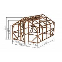 """Каркас деревянный для теплицы, курятника и прочих строений на участке.<br/> Преимущества:<br/> - стандартный размер ширина 3.0 м, высота 2.36 м, длина 4,04 м.<br/> - конструкция """"ДОМИК"""" со скошенной крышей, минимальная снеговая нагрузка.<br/> - транспортировка комплекта каркаса в салоне легкового автомобиля.<br/> - позволяет использовать различный укрывной материал<br/> (поликарбонат, пленку, стекло)."""