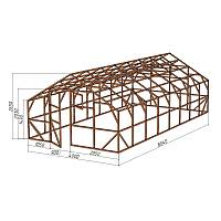 """Каркас деревянный для теплицы, курятника и прочих строений на участке.<br/> Преимущества:<br/> - максимальный размер ширина 4,0 м., высота 2,65 м., длина 8,04 м.<br/> - конструкция """"ДОМИК"""" со скошенной крышей, минимальная снеговая нагрузка.<br/> - транспортировка комплекта каркаса с помощью легкового автомобиля.<br/> - позволяет использовать различный укрывной материал<br/> (поликарбонат, пленку, стекло)."""