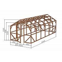"""Каркас деревянный для теплицы, курятника и прочих строений на участке.<br/> Преимущества:<br/> - компактный размер ширина 2,5м., высота 2,3м., длина 6,04м.<br/> - конструкция """"ДОМИК"""" со скошенной крышей, минимальная снеговая нагрузка.<br/> - транспортировка теплицы в салоне легкового автомобиля<br/> - позволяет использовать различный укрывной материал (поликарбонат, пленку, стекло)."""