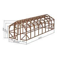"""Каркас деревянный для теплицы, курятника и прочих строений на участке.<br/> Преимущества:<br/> - компактный размер ширина 2,5м., высота 2,3м., длина 8,04м.<br/> - конструкция """"ДОМИК"""" со скошенной крышей, минимальная снеговая нагрузка.<br/> - транспортировка теплицы в салоне легкового автомобиля<br/> - позволяет использовать различный укрывной материал (поликарбонат, пленку, стекло)."""