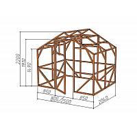 """Каркас деревянный для теплицы, курятника и прочих строений на участке.<br/> Преимущества:<br/> - компактный размер ширина 2.5 м, высота 2.3 м, длина 2,04 м.<br/> - конструкция """"ДОМИК"""" со скошенной крышей, минимальная снеговая нагрузка<br/> - транспортировка теплицы в салоне легкового автомобиля<br/> - позволяет использовать различный укрывной материал <br/>(поликарбонат, пленку, стекло)."""