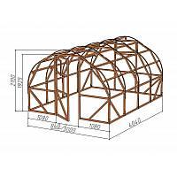Каркас деревянный для теплицы.<br/> Преимущества:<br/> - стандартный размер ширина 3.0 м, высота 2.10 м, длина 4,04 м.<br/> - арочная конструкция каркаса позволяет использовать укрывной материал без стыков<br/> - использовать различный укрывной материал<br/>(поликарбонат, пленку).
