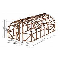 Каркас деревянный для теплицы.<br/> Преимущества:<br/> - стандартный размер ширина 3.0 м, высота 2.10 м, длина 6,04 м.<br/> - арочная конструкция каркаса позволяет использовать укрывной материал без стыков<br/> - использовать различный укрывной материал<br/>(поликарбонат, пленку).