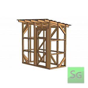 Каркас сарая 1.22х2.44 м с дверью 80 см справа