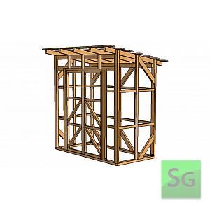 Каркас сарая 1.22х2.44 м. с дверьми 2х70 см. центр
