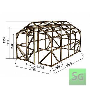 """Теплица деревянная """"Домик"""" 2.5х4 м, каркас"""