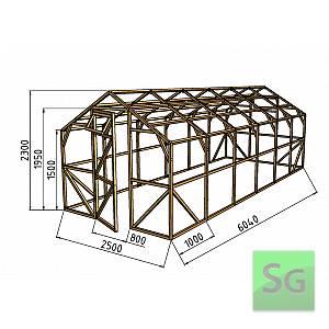 """Теплица деревянная """"Домик"""" 2.5х6 м, каркас"""