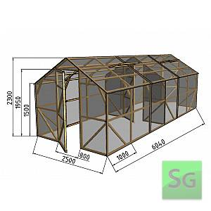 "Теплица деревянная ""Домик"", комплект 2.5х3м+3м, поликарбонат"