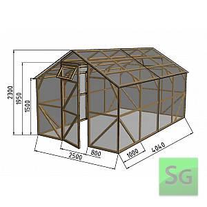 """Теплица деревянная """"Домик"""", комплект 2.5х4 м, поликарбонат"""