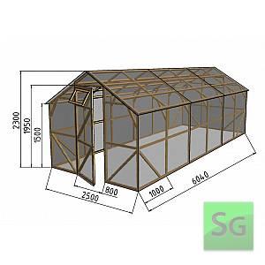 """Теплица деревянная """"Домик"""", комплект 2.5х6м, поликарбонат"""