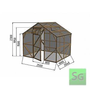 """Теплица деревянная """"Домик"""", комплект 2.5х2 м, поликарбонат"""