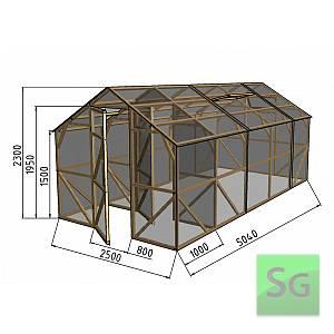 "Теплица деревянная ""Домик"", комплект 2.5х4м+1м хоз. блок, поликарбонат"