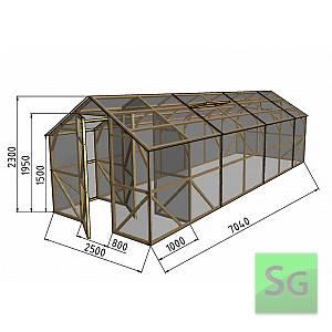 "Теплица деревянная ""Домик"", комплект 2.5х6м+1м хоз. блок, поликарбонат"