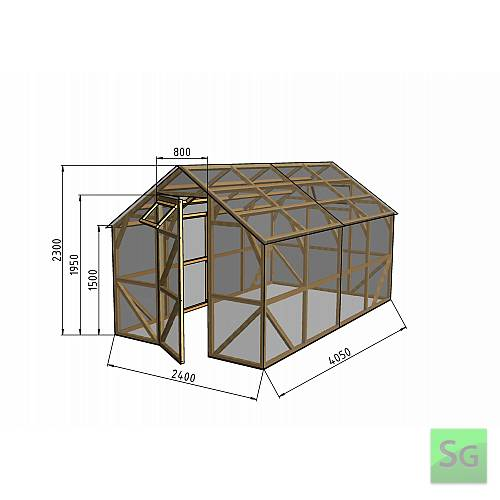"""Теплица деревянная """"Домик"""" 2.5х4 м, каркас: Чертеж готовой теплицы с размерами"""