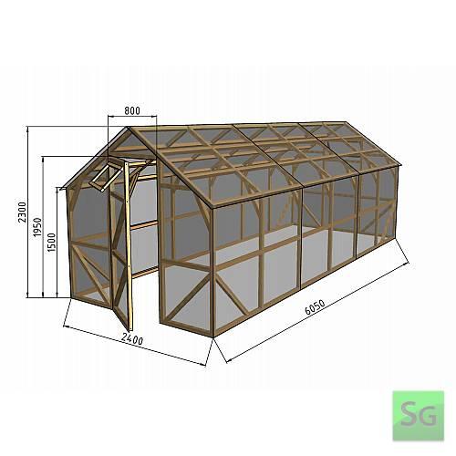 """Теплица деревянная """"Домик"""" 2.5х6 м, каркас:  Теплица деревянная  Домик  2.5х6 м, каркас"""