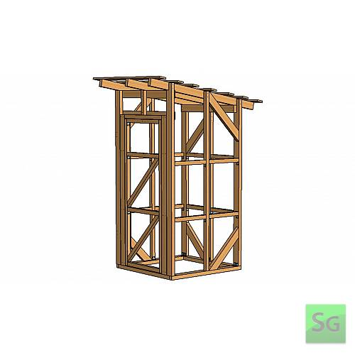 Каркас сарая 1.22х1.22 м с дверью 80 см: Внешний вид сарая 1.22х1.22м