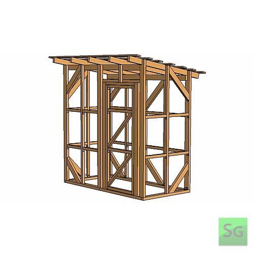Каркас сарая 1.22х2.44 м с дверью 80 см справа:  Каркас сарая 1.22х2.44 м с дверью 80 см справа