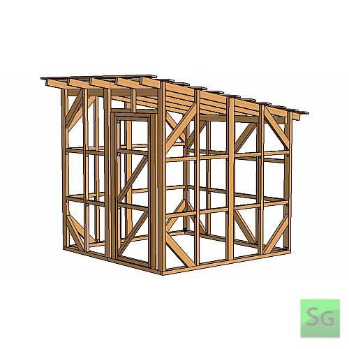 Каркас сарая 2.44х2.44 м. с дверью 80 см. справа:  Каркас сарая 2.44х2.44 м. с дверью 80 см. справа