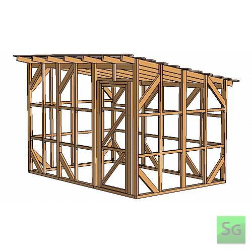 Каркас сарая 2.44х3.66 м. с дверью 80 см. справа:  Каркас сарая 2.44х3.66 м. с дверью 80 см. справа