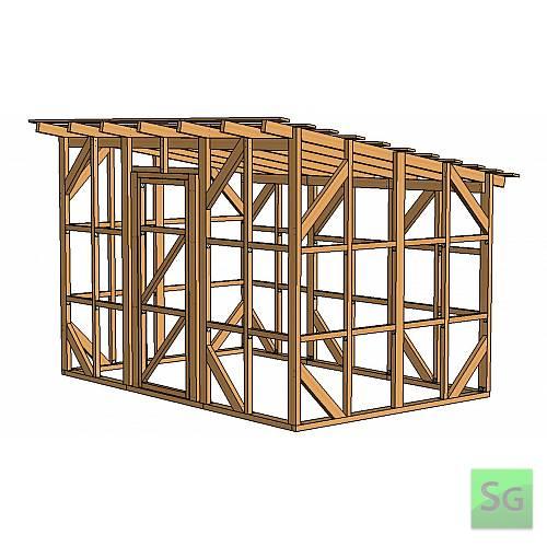 Каркас сарая 2.44х3.66 м. с дверью 80 см. по центру:  Каркас сарая 2.44х3.66 м. с дверью 80 см. по центру