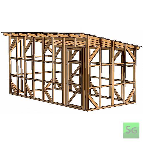 Каркас сарая 2.44х4.88 м. с дверью 80 см. справа:  Каркас сарая 2.44х4.88 м. с дверью 80 см. справа