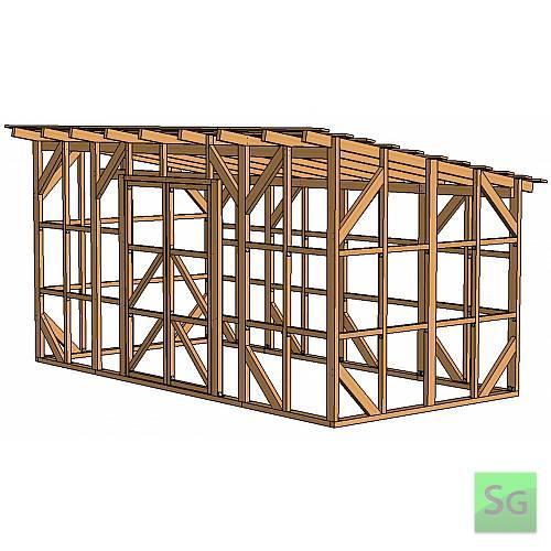 Каркас сарая 2.44х4.88 м. с дверьми 2х70 см. центр:  Каркас сарая 2.44х4.88 м. с дверьми 2х70 см. центр