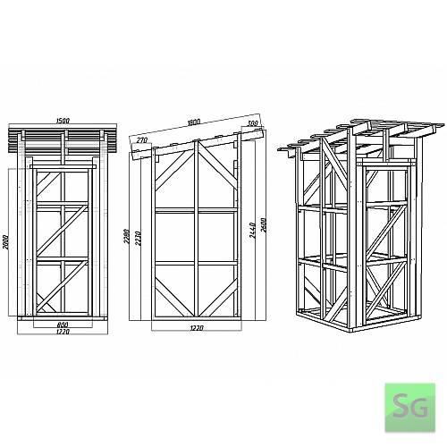 Каркас сарая 1.22х1.22 м с дверью 80 см: Чертеж сарая 1.22х1.22м  с размерами (развертка)