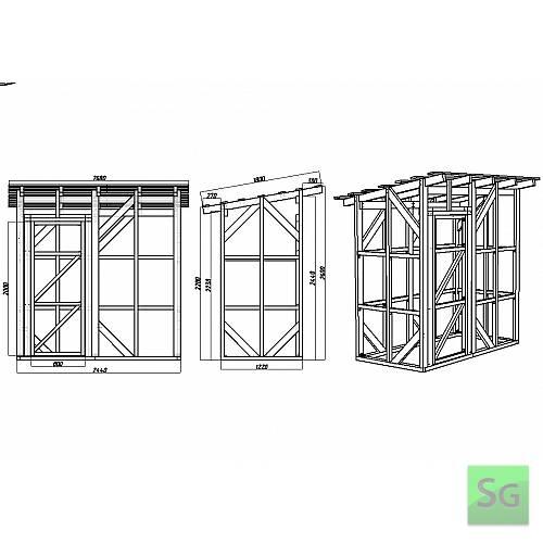 Каркас сарая 1.22х2.44 м с дверью 80 см слева: Чертеж сарая 1.22х2.44 м с размерами (развертка)
