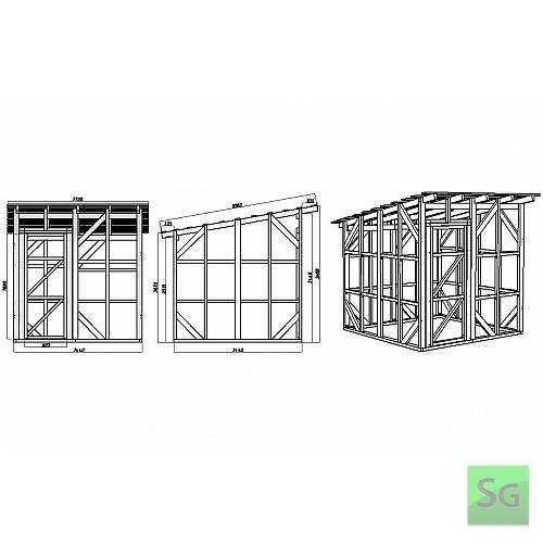 Каркас сарая 2.44х2.44 м. с дверью 80 см. слева: Размеры каркаса сарая