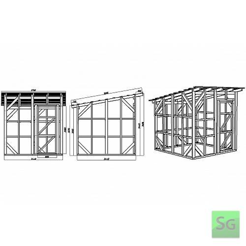 Каркас сарая 2.44х2.44 м. с дверью 80 см. справа: Размеры каркаса сарая