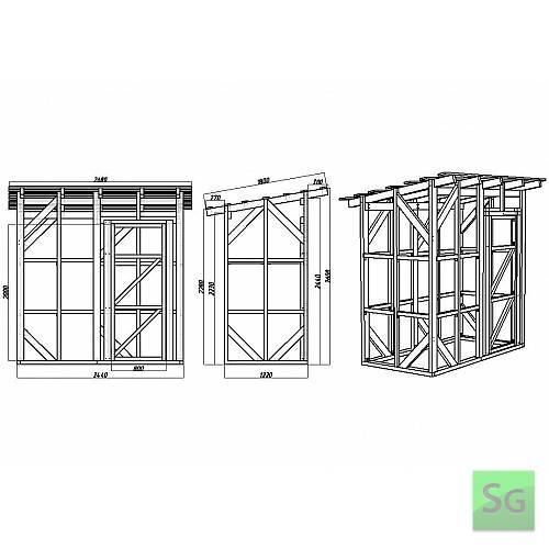 Каркас сарая 1.22х2.44 м с дверью 80 см справа: Размеры каркаса сарая