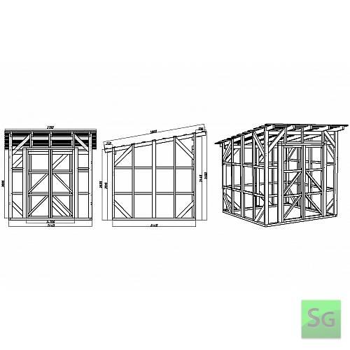 Каркас сарая 2.44х2.44 м. с дверьми 2х70 см. центр: Чертеж сарая с размерами