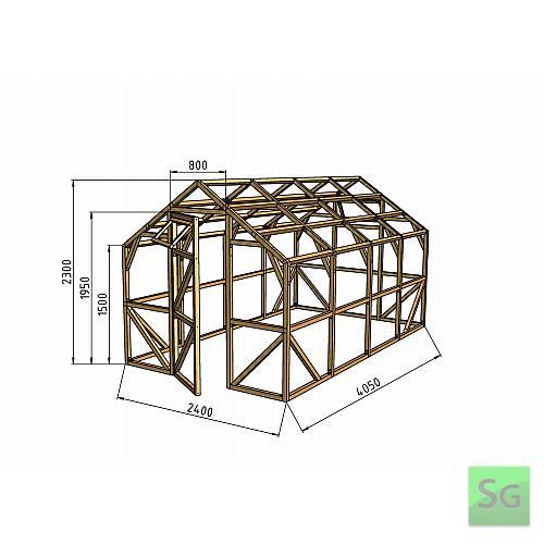 """Теплица деревянная """"Домик"""", комплект 2.5х4 м, поликарбонат:  Теплица деревянная  Домик , комплект 2.5х4 м, поликарбонат"""
