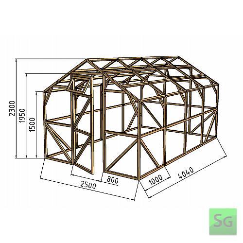 """Теплица деревянная """"Домик"""" 2.5х4 м, каркас:  Теплица деревянная  Домик  2.5х4 м, каркас"""