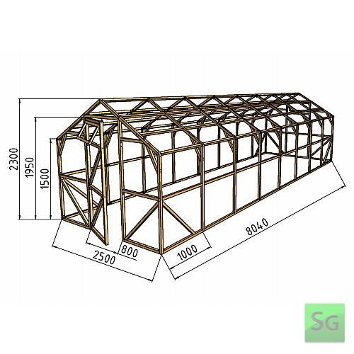"""Теплица деревянная """"Домик"""" 2.5х8м, каркас:  Теплица деревянная  Домик  2.5х8м, каркас"""