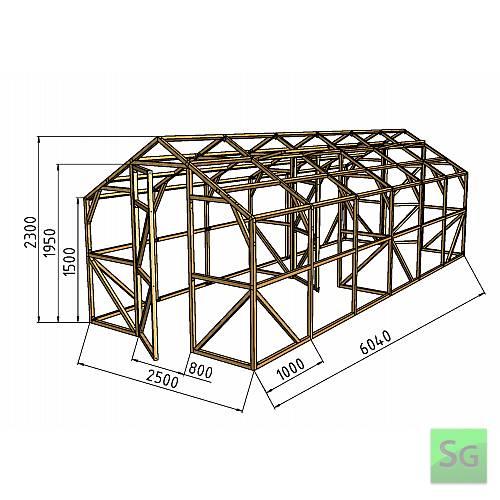 """Теплица деревянная """"Домик"""" 2.5х3м+3м, каркас:  Теплица деревянная  Домик  2.5х3м+3м, каркас"""