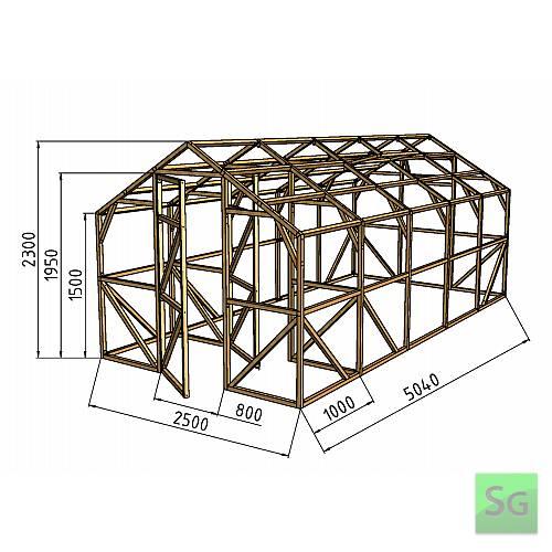 """Теплица деревянная """"Домик"""" 2.5х4м+1м хоз. блок, каркас:  Теплица деревянная  Домик  2.5х4м+1м хоз. блок, каркас"""