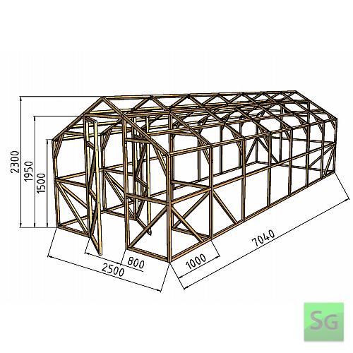 """Теплица деревянная """"Домик"""" 2.5х6м+1м хоз. блок, каркас:  Теплица деревянная  Домик  2.5х6м+1м хоз. блок, каркас"""
