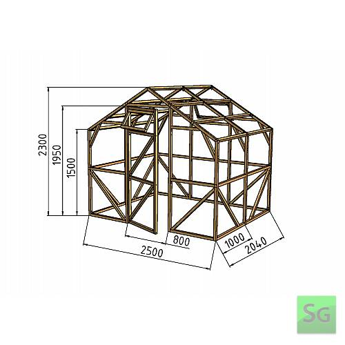 """Теплица деревянная """"Домик"""", комплект 2.5х2 м, поликарбонат:  Теплица деревянная  Домик , комплект 2.5х2 м, поликарбонат"""