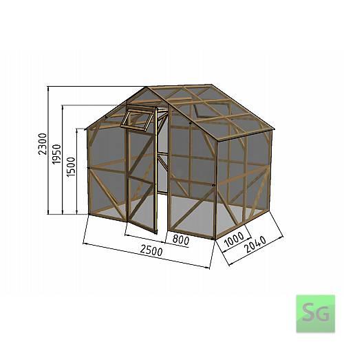 """Теплица деревянная """"Домик"""", комплект 2.5х2 м, пленка 150 мкр:  Теплица деревянная  Домик , комплект 2.5х2 м, пленка 150 мкр"""