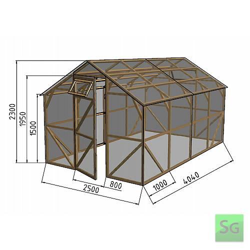 """Теплица деревянная """"Домик"""", комплект 2.5х4 м, пленка 150 мкр:  Теплица деревянная  Домик , комплект 2.5х4 м, пленка 150 мкр"""