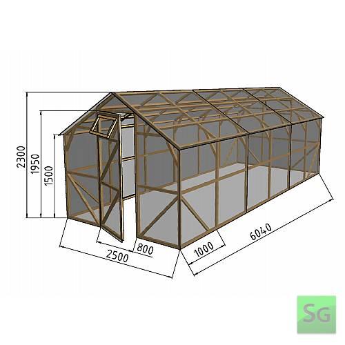 """Теплица деревянная """"Домик"""", комплект 2.5х6 м, пленка 150 мкр:  Теплица деревянная  Домик , комплект 2.5х6 м, пленка 150 мкр"""