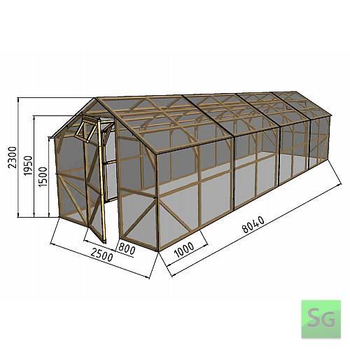 """Теплица деревянная """"Домик"""", комплект 2.5х8 м, пленка 150 мкр:  Теплица деревянная  Домик , комплект 2.5х8 м, пленка 150 мкр"""