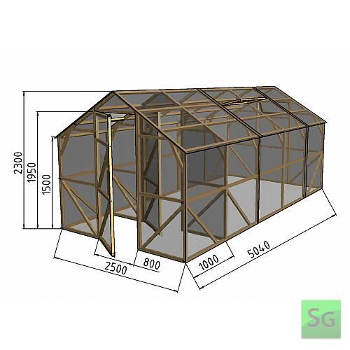 """Теплица деревянная """"Домик"""", комплект 2.5х4м+1м хоз. блок, поликарбонат:  Теплица деревянная  Домик , комплект 2.5х4м+1м хоз. блок, поликарбонат"""