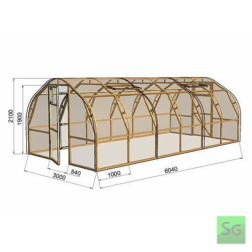 "Теплица деревянная ""Арка"" 3х6м, поликарбонат:  Теплица деревянная  Арка  3х6м, поликарбонат"