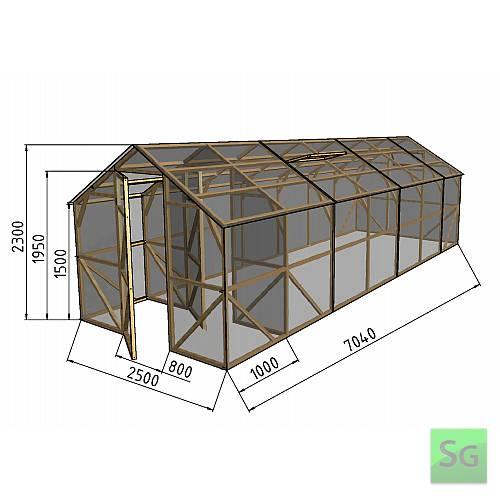 """Теплица деревянная """"Домик"""", комплект 2.5х6м+1м хоз. блок, пленка 150 мкр:  Теплица деревянная  Домик , комплект 2.5х6м+1м хоз. блок, пленка 150 мкр"""